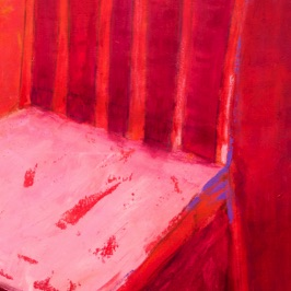 "RED CHAIR III 36"" x 24"" Mixed Media"