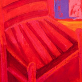"RED CHAIR I 36"" x 24"" Mixed Media"