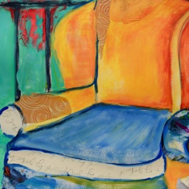 "YELLOW SOFA 50"" x 38"" Mixed Media on Paper"