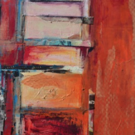 "RED LADDER 48"" x 24"" Mixed Media on wood"