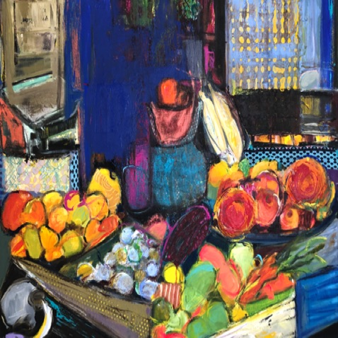 "FRUIT STAND Mixed Media  30""X40"""